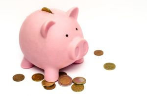 Piggy bank for dental savings plan.